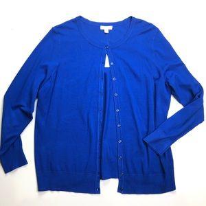 NEW Charters Club Modern Blue Button Cardigan